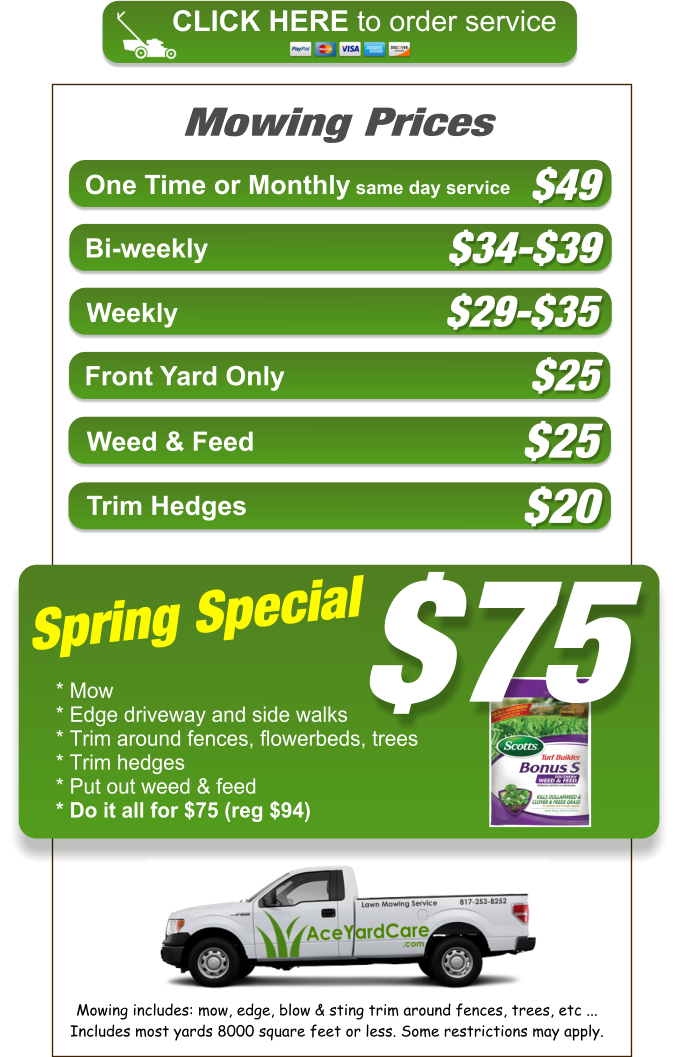 Lawn Mowing Service Price List